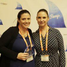 Lauren Weiner, Director of Marketing, Ipreo & Rhoan Morgan, CEO & Co-Founder, DemandLab pose with their Short-Form Content Finnys.