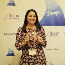 Amy Holtzman, Director, Demand Generation & Online Marketing, Conductor strikes a pose with her Finny for Account-Based Marketing.