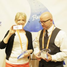 Pam Mariutto, Executive Creative Director, and Wayne Carlson, Content Director, Broadhead pose with the Interactive Content KCA for The Mosaic Co.