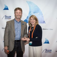John Sisson and Lianne Wade of Wilde Agency accepting their Finny for Social Amplification.